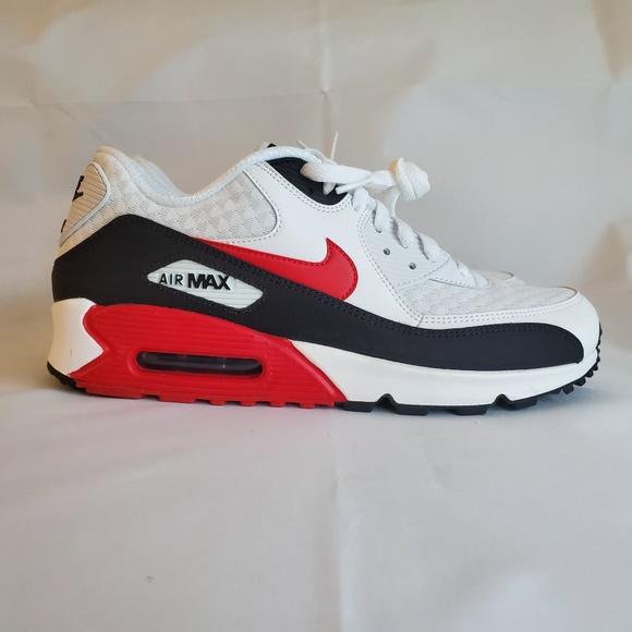 Air Max 90 White University Red Black Size 10